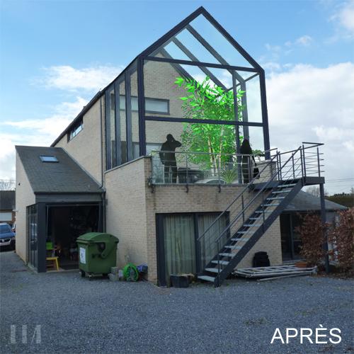 Verri re sur terrasse l 39 tage lia architecture for Construction d une verriere